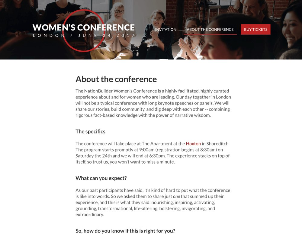 NationBuilder Women's Conference Website